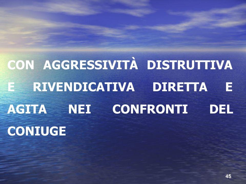 CON AGGRESSIVITÀ DISTRUTTIVA E RIVENDICATIVA DIRETTA E AGITA NEI CONFRONTI DEL CONIUGE 45