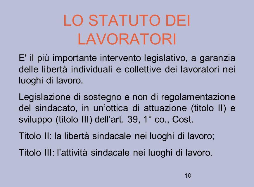 10 LO STATUTO DEI LAVORATORI E' il più importante intervento legislativo, a garanzia delle libertà individuali e collettive dei lavoratori nei luoghi