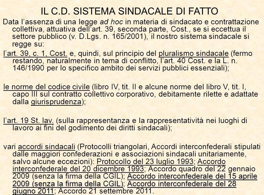 IL C.D. SISTEMA SINDACALE DI FATTO Data l'assenza di una legge ad hoc in materia di sindacato e contrattazione collettiva, attuativa dell'art. 39, sec