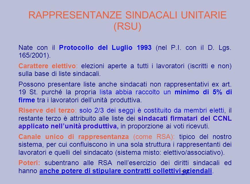 27 RAPPRESENTANZE SINDACALI UNITARIE (RSU) Nate con il Protocollo del Luglio 1993 (nel P.I. con il D. Lgs. 165/2001). Carattere elettivo: elezioni ape