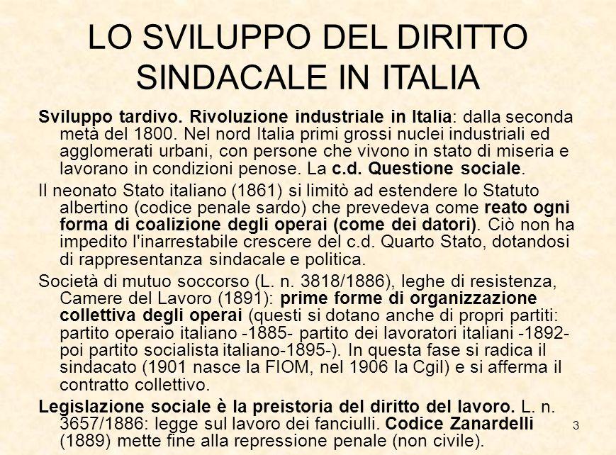 3 LO SVILUPPO DEL DIRITTO SINDACALE IN ITALIA Sviluppo tardivo. Rivoluzione industriale in Italia: dalla seconda metà del 1800. Nel nord Italia primi