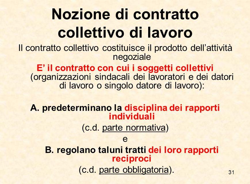 31 Nozione di contratto collettivo di lavoro Il contratto collettivo costituisce il prodotto dell'attività negoziale E' il contratto con cui i soggett
