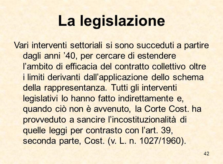 42 La legislazione Vari interventi settoriali si sono succeduti a partire dagli anni '40, per cercare di estendere l'ambito di efficacia del contratto