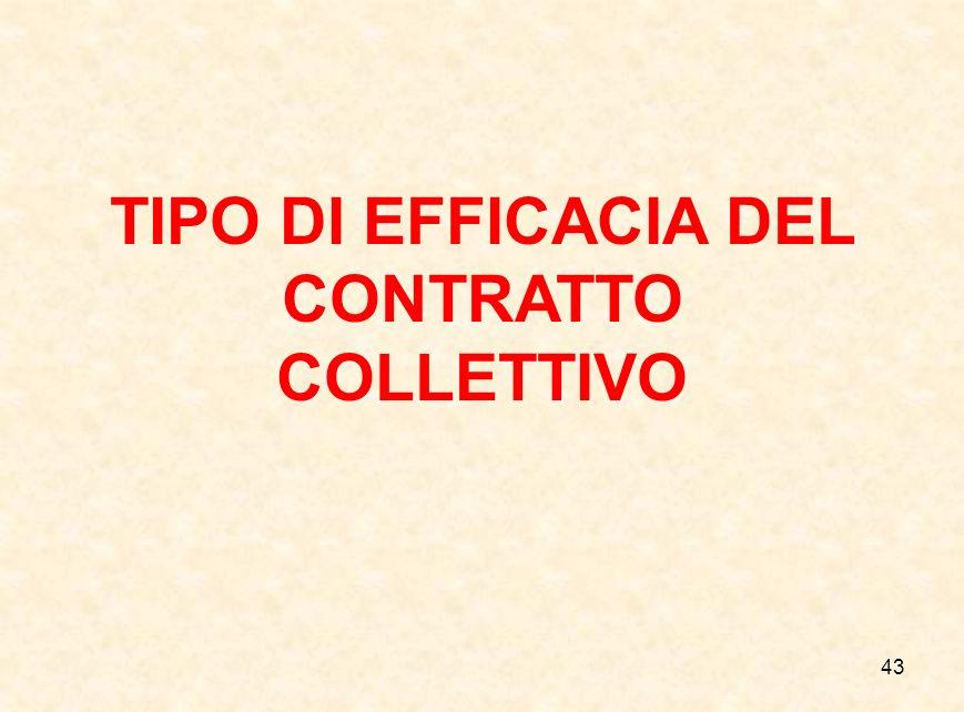 43 TIPO DI EFFICACIA DEL CONTRATTO COLLETTIVO