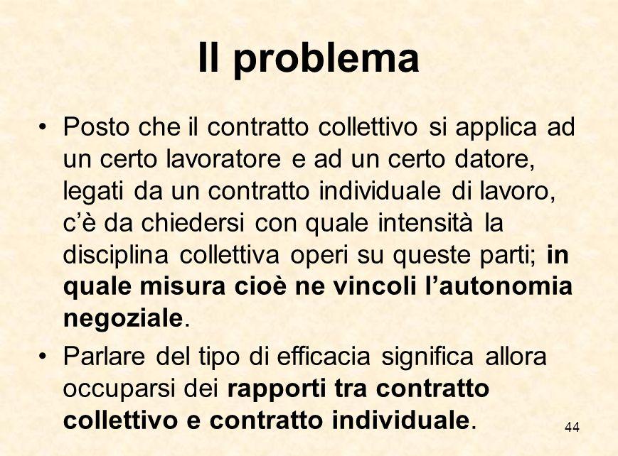44 Il problema Posto che il contratto collettivo si applica ad un certo lavoratore e ad un certo datore, legati da un contratto individuale di lavoro,