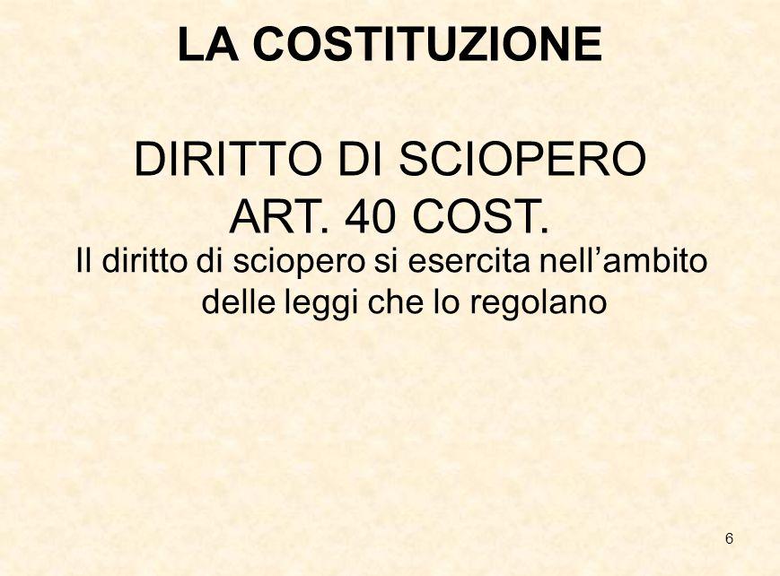 6 LA COSTITUZIONE DIRITTO DI SCIOPERO ART. 40 COST. Il diritto di sciopero si esercita nell'ambito delle leggi che lo regolano