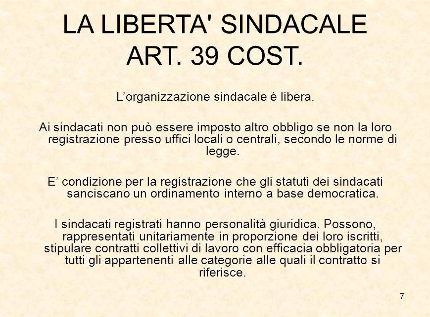 7 LA LIBERTA' SINDACALE ART. 39 COST. L'organizzazione sindacale è libera. Ai sindacati non può essere imposto altro obbligo se non la loro registrazi