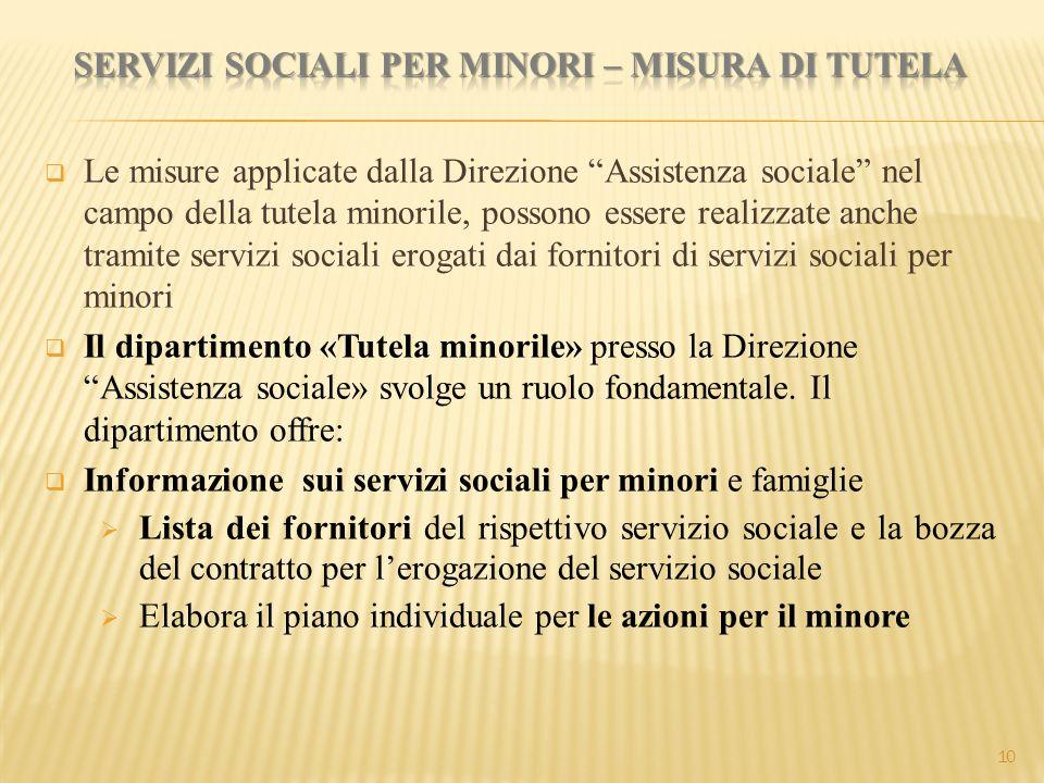 """ Le misure applicate dalla Direzione """"Assistenza sociale"""" nel campo della tutela minorile, possono essere realizzate anche tramite servizi sociali er"""