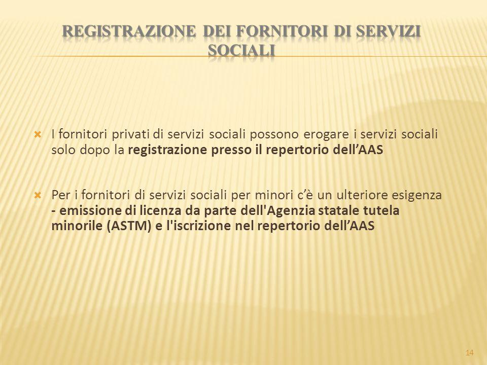  I fornitori privati di servizi sociali possono erogare i servizi sociali solo dopo la registrazione presso il repertorio dell'AAS  Per i fornitori di servizi sociali per minori c'è un ulteriore esigenza - emissione di licenza da parte dell Agenzia statale tutela minorile (ASTM) e l iscrizione nel repertorio dell'AAS 14