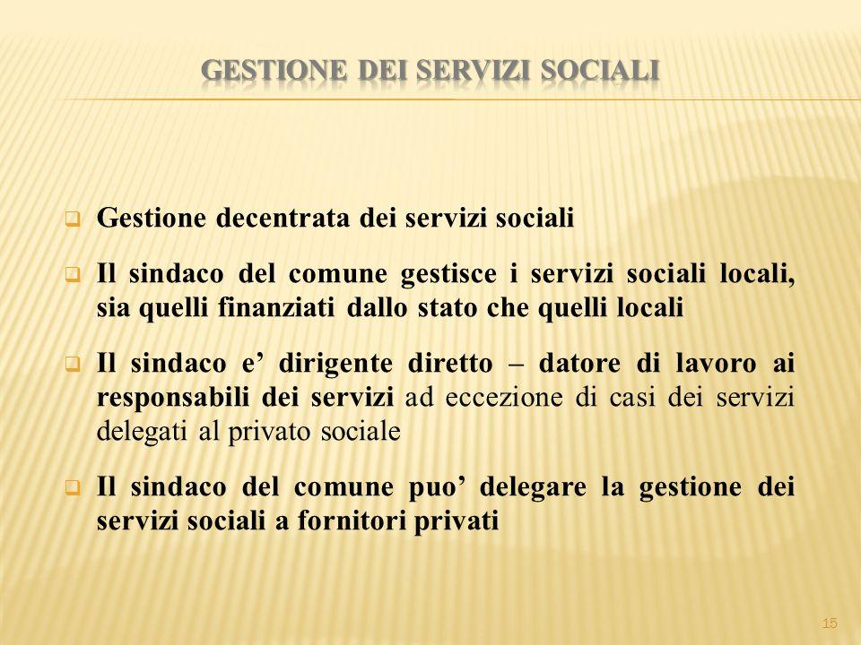  Gestione decentrata dei servizi sociali  Il sindaco del comune gestisce i servizi sociali locali, sia quelli finanziati dallo stato che quelli loca