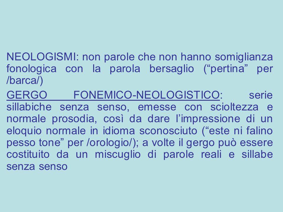 """NEOLOGISMI: non parole che non hanno somiglianza fonologica con la parola bersaglio (""""pertina"""" per /barca/) GERGO FONEMICO-NEOLOGISTICO: serie sillabi"""