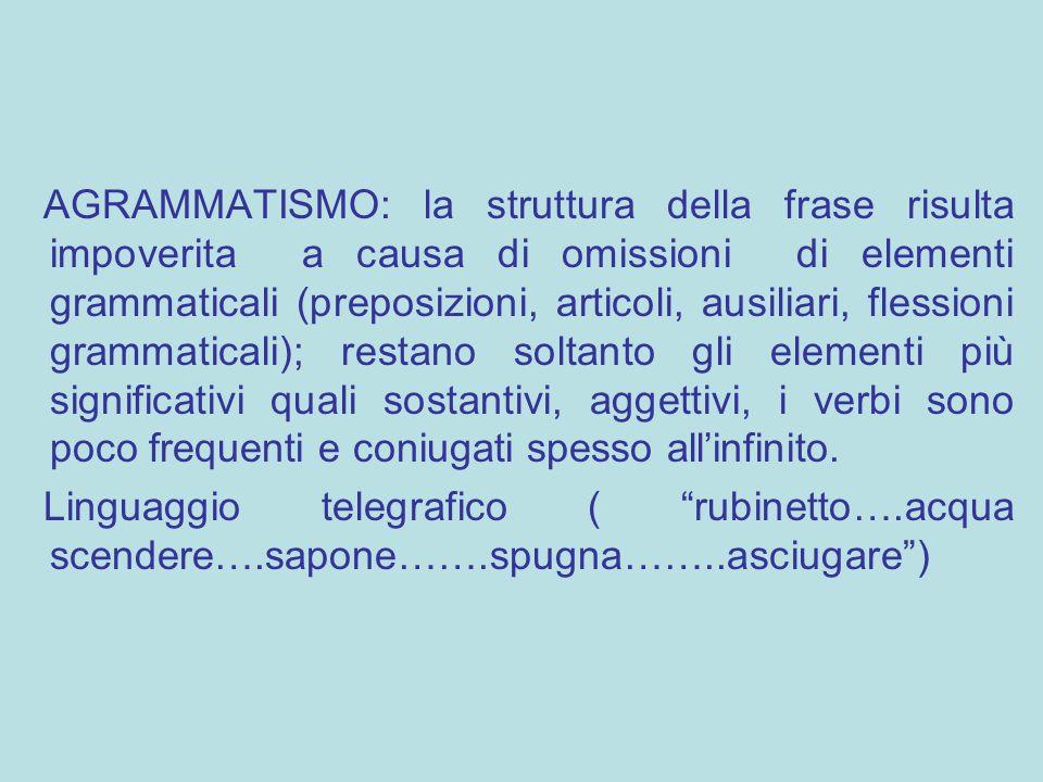 AGRAMMATISMO: la struttura della frase risulta impoverita a causa di omissioni di elementi grammaticali (preposizioni, articoli, ausiliari, flessioni