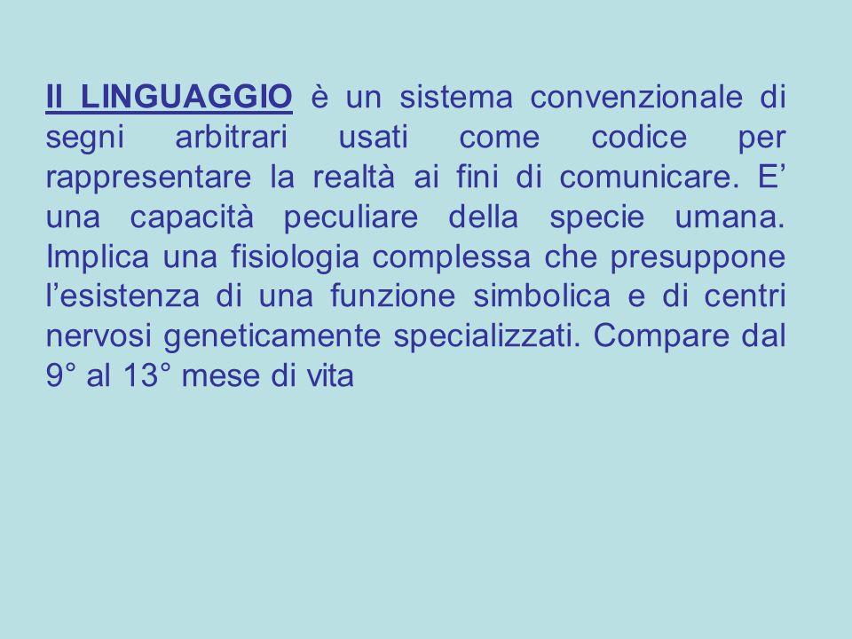 Il LINGUAGGIO è un sistema convenzionale di segni arbitrari usati come codice per rappresentare la realtà ai fini di comunicare. E' una capacità pecul