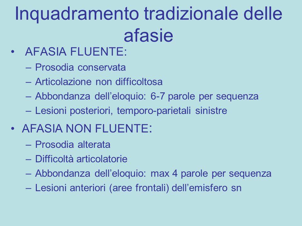 Inquadramento tradizionale delle afasie AFASIA FLUENTE: –Prosodia conservata –Articolazione non difficoltosa –Abbondanza dell'eloquio: 6-7 parole per