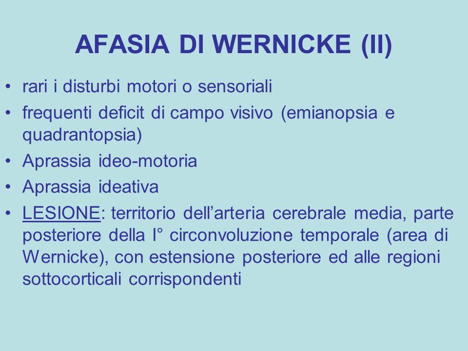 AFASIA DI WERNICKE (II) rari i disturbi motori o sensoriali frequenti deficit di campo visivo (emianopsia e quadrantopsia) Aprassia ideo-motoria Apras
