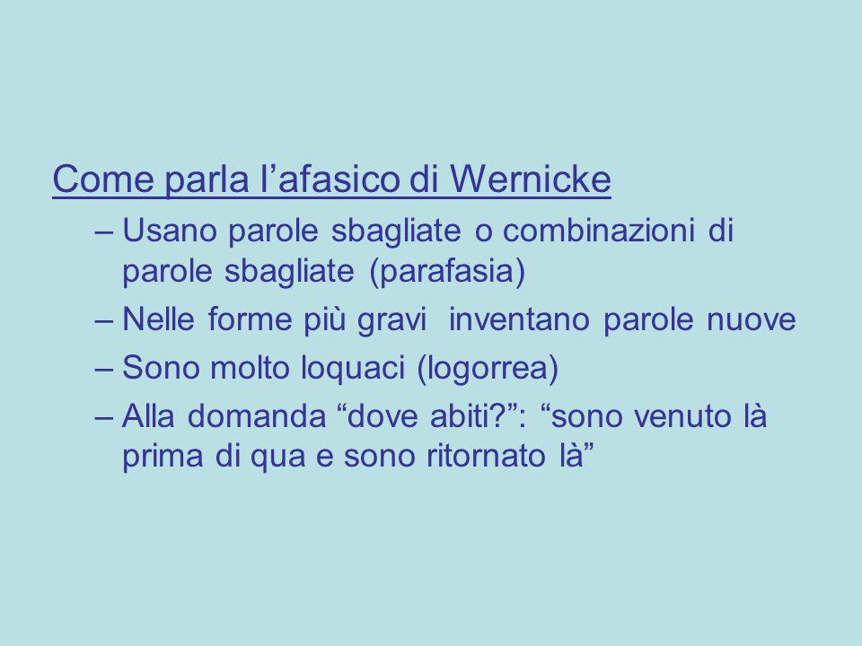 Come parla l'afasico di Wernicke –Usano parole sbagliate o combinazioni di parole sbagliate (parafasia) –Nelle forme più gravi inventano parole nuove