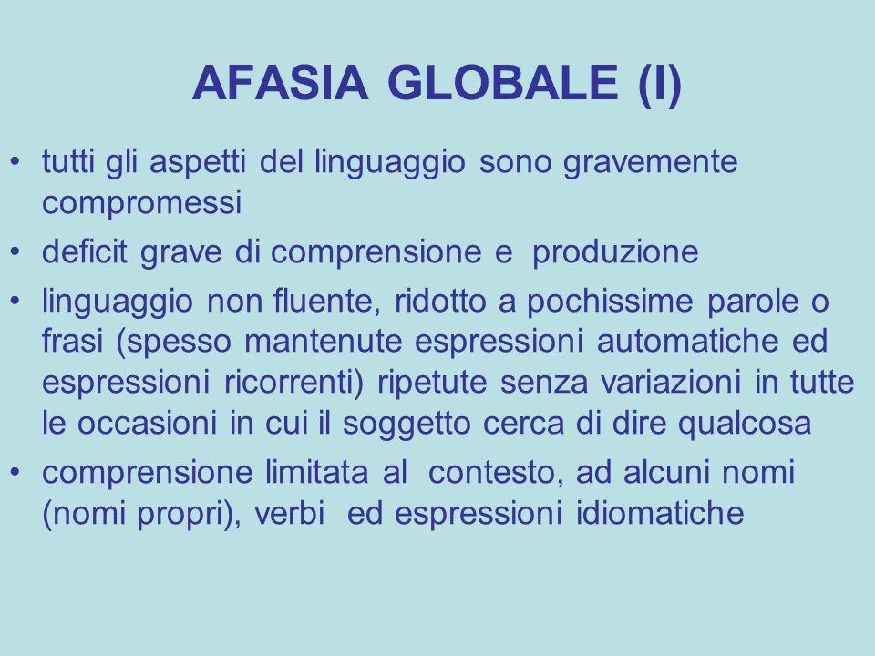 AFASIA GLOBALE (I) tutti gli aspetti del linguaggio sono gravemente compromessi deficit grave di comprensione e produzione linguaggio non fluente, rid