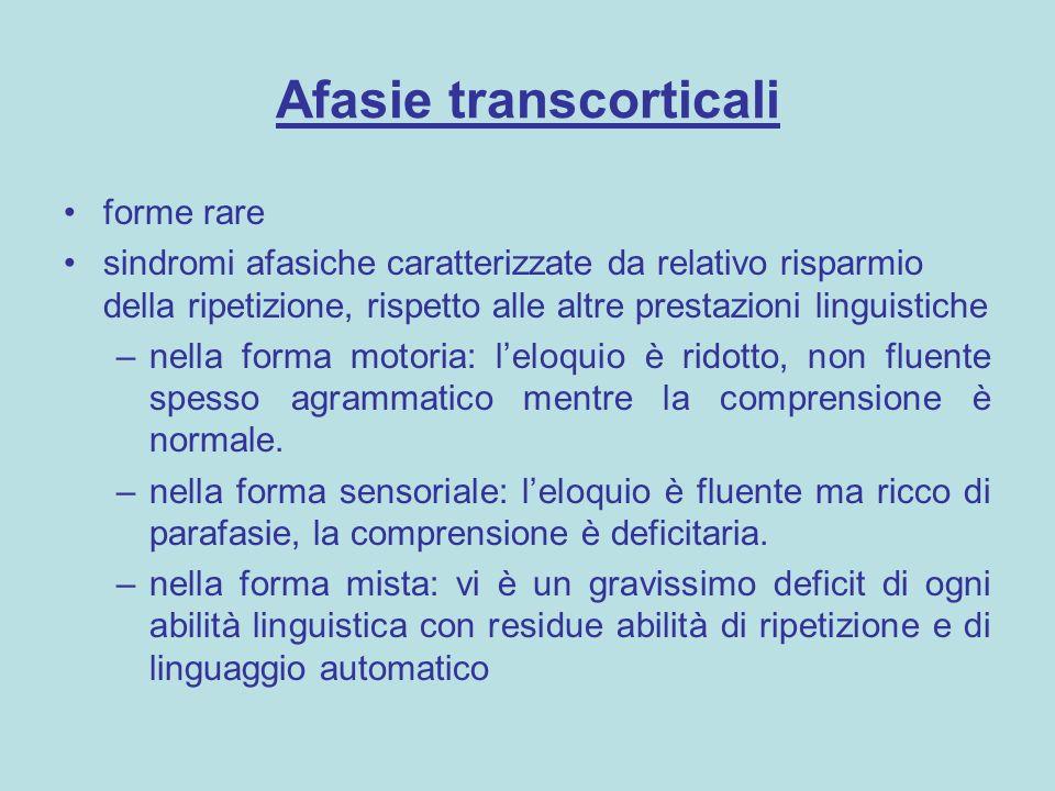 Afasie transcorticali forme rare sindromi afasiche caratterizzate da relativo risparmio della ripetizione, rispetto alle altre prestazioni linguistich