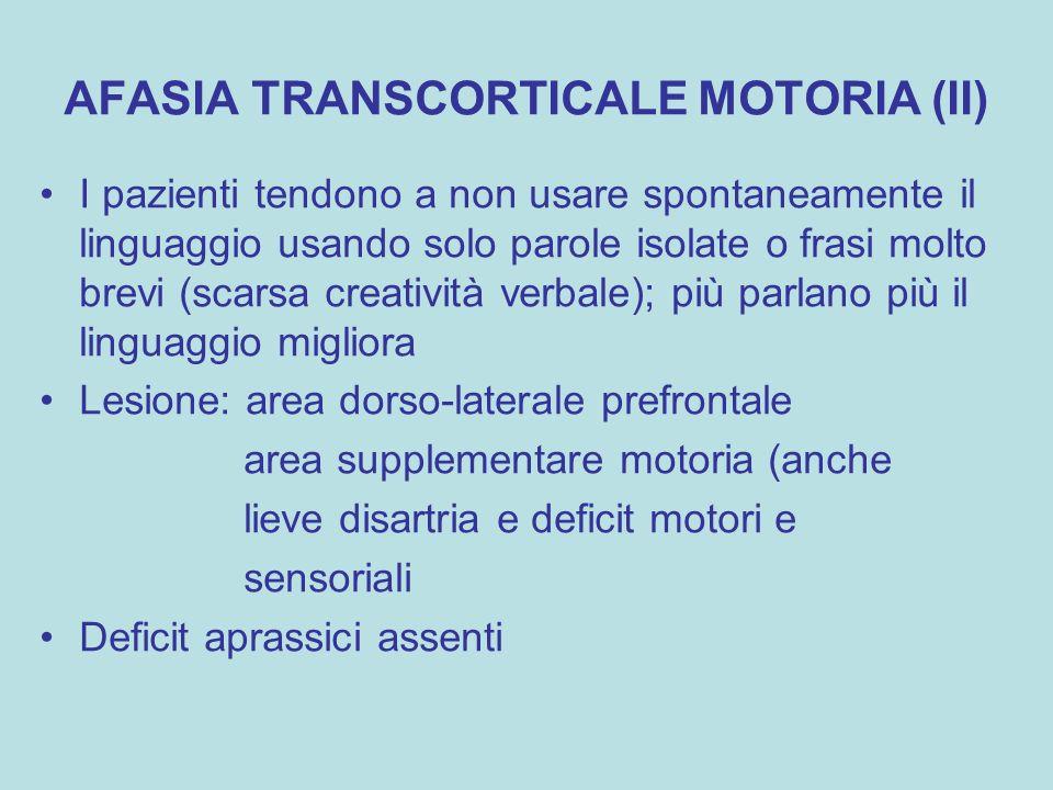 AFASIA TRANSCORTICALE MOTORIA (II) I pazienti tendono a non usare spontaneamente il linguaggio usando solo parole isolate o frasi molto brevi (scarsa
