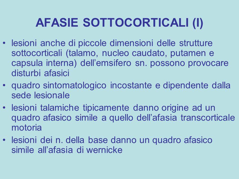 AFASIE SOTTOCORTICALI (I) lesioni anche di piccole dimensioni delle strutture sottocorticali (talamo, nucleo caudato, putamen e capsula interna) dell'