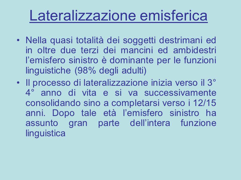 Lateralizzazione emisferica Nella quasi totalità dei soggetti destrimani ed in oltre due terzi dei mancini ed ambidestri l'emisfero sinistro è dominan
