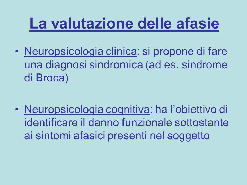 La valutazione delle afasie Neuropsicologia clinica: si propone di fare una diagnosi sindromica (ad es. sindrome di Broca) Neuropsicologia cognitiva: