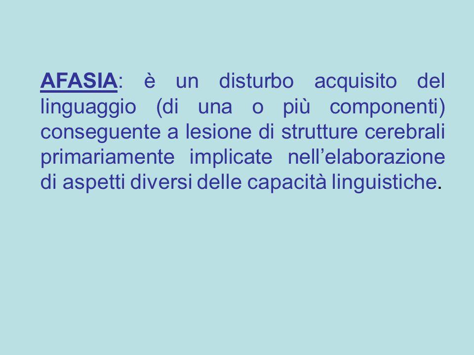 AFASIA: è un disturbo acquisito del linguaggio (di una o più componenti) conseguente a lesione di strutture cerebrali primariamente implicate nell'ela