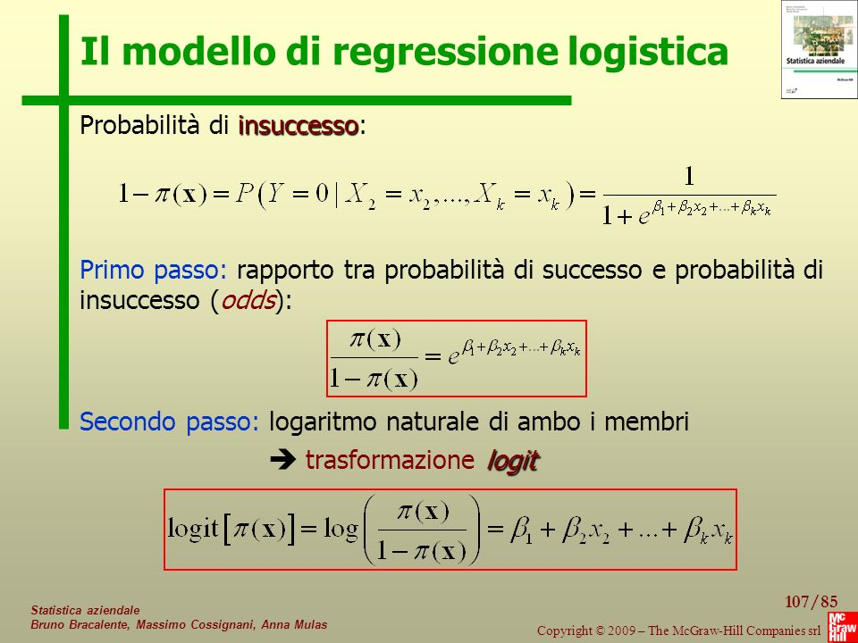107/85 Copyright © 2009 – The McGraw-Hill Companies srl Statistica aziendale Bruno Bracalente, Massimo Cossignani, Anna Mulas Il modello di regression