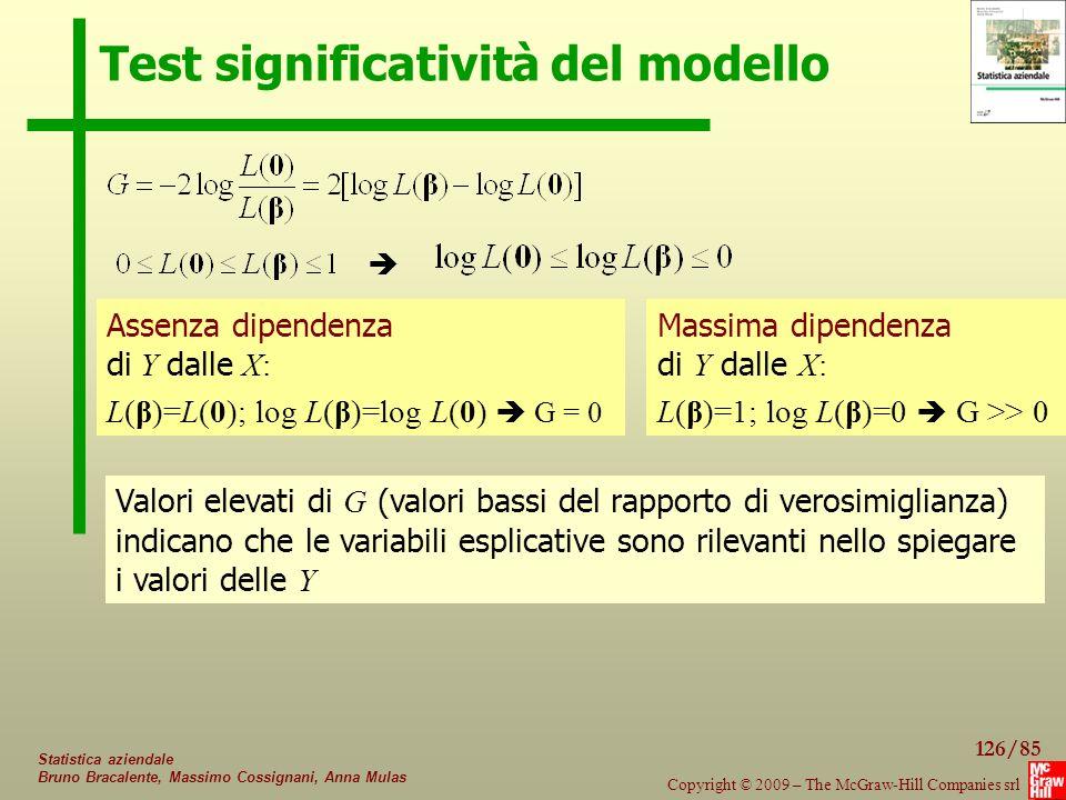 126/85 Copyright © 2009 – The McGraw-Hill Companies srl Statistica aziendale Bruno Bracalente, Massimo Cossignani, Anna Mulas Test significatività del modello Valori elevati di G (valori bassi del rapporto di verosimiglianza) indicano che le variabili esplicative sono rilevanti nello spiegare i valori delle Y Massima dipendenza di Y dalle X: L(β)=1; log L(β)=0  G >> 0 Assenza dipendenza di Y dalle X: L(β)=L(0); log L(β)=log L(0)  G = 0 