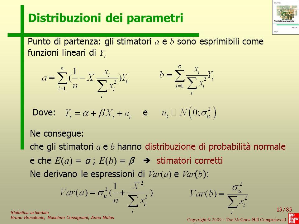 13/85 Copyright © 2009 – The McGraw-Hill Companies srl Statistica aziendale Bruno Bracalente, Massimo Cossignani, Anna Mulas Distribuzioni dei parametri Punto di partenza: gli stimatori a e b sono esprimibili come funzioni lineari di Y i Dove:e Ne consegue: che gli stimatori a e b hanno distribuzione di probabilità normale e che E(a) = α ; E(b) = β stimatori corretti Ne derivano le espressioni di Var(a) e Var ( b ): 