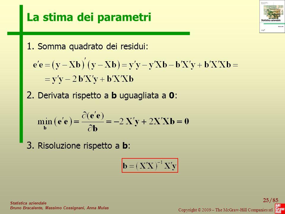 25/85 Copyright © 2009 – The McGraw-Hill Companies srl Statistica aziendale Bruno Bracalente, Massimo Cossignani, Anna Mulas La stima dei parametri 1.