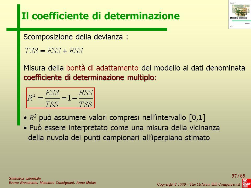 37/85 Copyright © 2009 – The McGraw-Hill Companies srl Statistica aziendale Bruno Bracalente, Massimo Cossignani, Anna Mulas Il coefficiente di determ