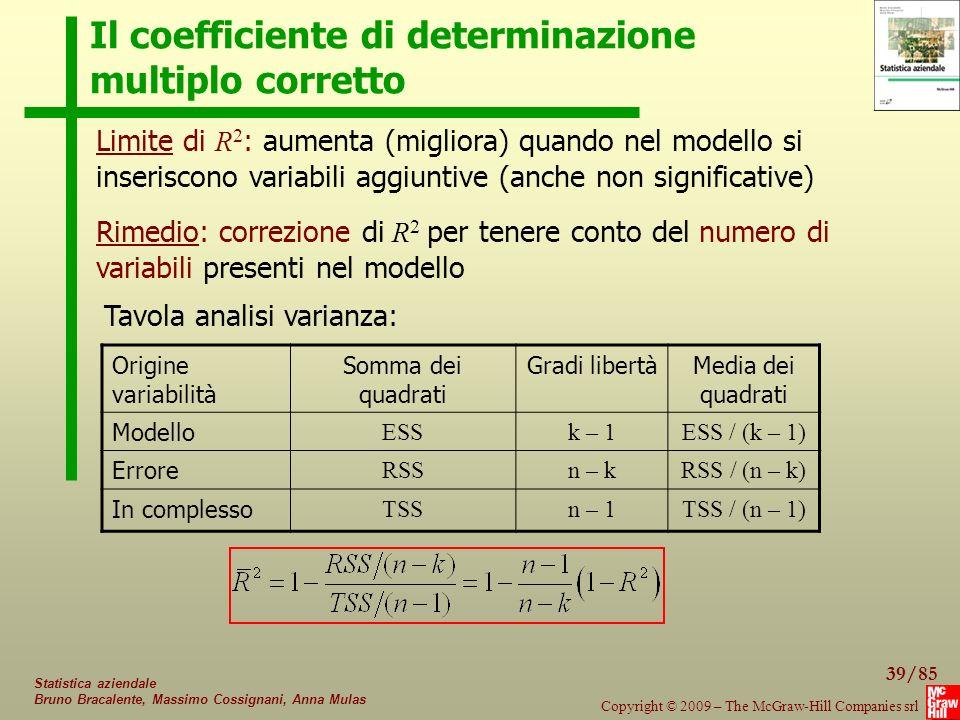 39/85 Copyright © 2009 – The McGraw-Hill Companies srl Statistica aziendale Bruno Bracalente, Massimo Cossignani, Anna Mulas Il coefficiente di determinazione multiplo corretto Origine variabilità Somma dei quadrati Gradi libertàMedia dei quadrati Modello ESSk – 1ESS / (k – 1) Errore RSSn – kRSS / (n – k) In complesso TSSn – 1TSS / (n – 1) Limite di R 2 : aumenta (migliora) quando nel modello si inseriscono variabili aggiuntive (anche non significative) Tavola analisi varianza: Rimedio: correzione di R 2 per tenere conto del numero di variabili presenti nel modello