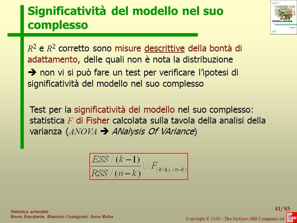 41/85 Copyright © 2009 – The McGraw-Hill Companies srl Statistica aziendale Bruno Bracalente, Massimo Cossignani, Anna Mulas Significatività del model