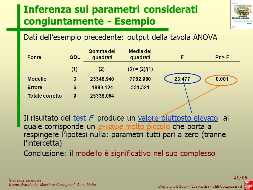 43/85 Copyright © 2009 – The McGraw-Hill Companies srl Statistica aziendale Bruno Bracalente, Massimo Cossignani, Anna Mulas Inferenza sui parametri c