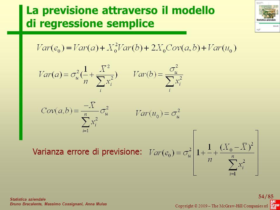 54/85 Copyright © 2009 – The McGraw-Hill Companies srl Statistica aziendale Bruno Bracalente, Massimo Cossignani, Anna Mulas La previsione attraverso il modello di regressione semplice Varianza errore di previsione:
