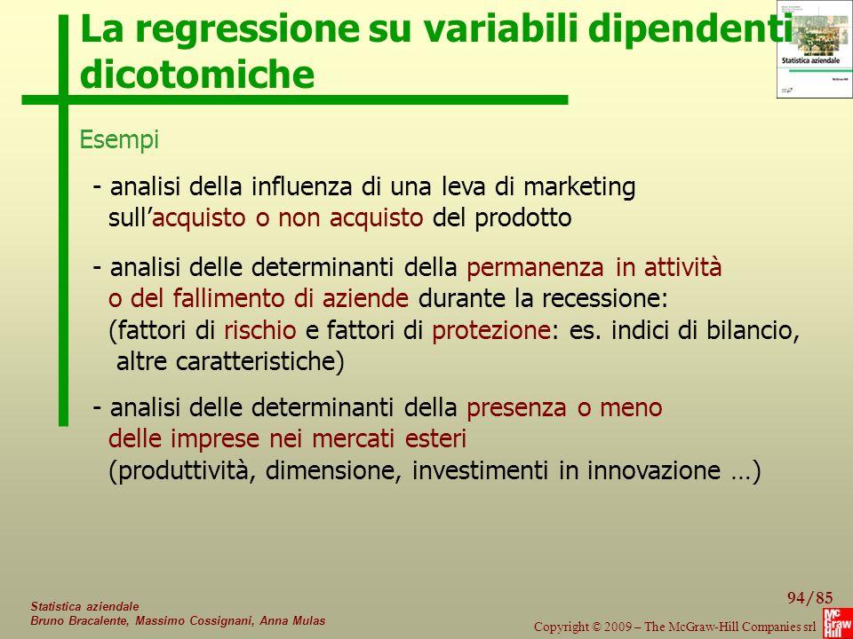94/85 Copyright © 2009 – The McGraw-Hill Companies srl Statistica aziendale Bruno Bracalente, Massimo Cossignani, Anna Mulas La regressione su variabi