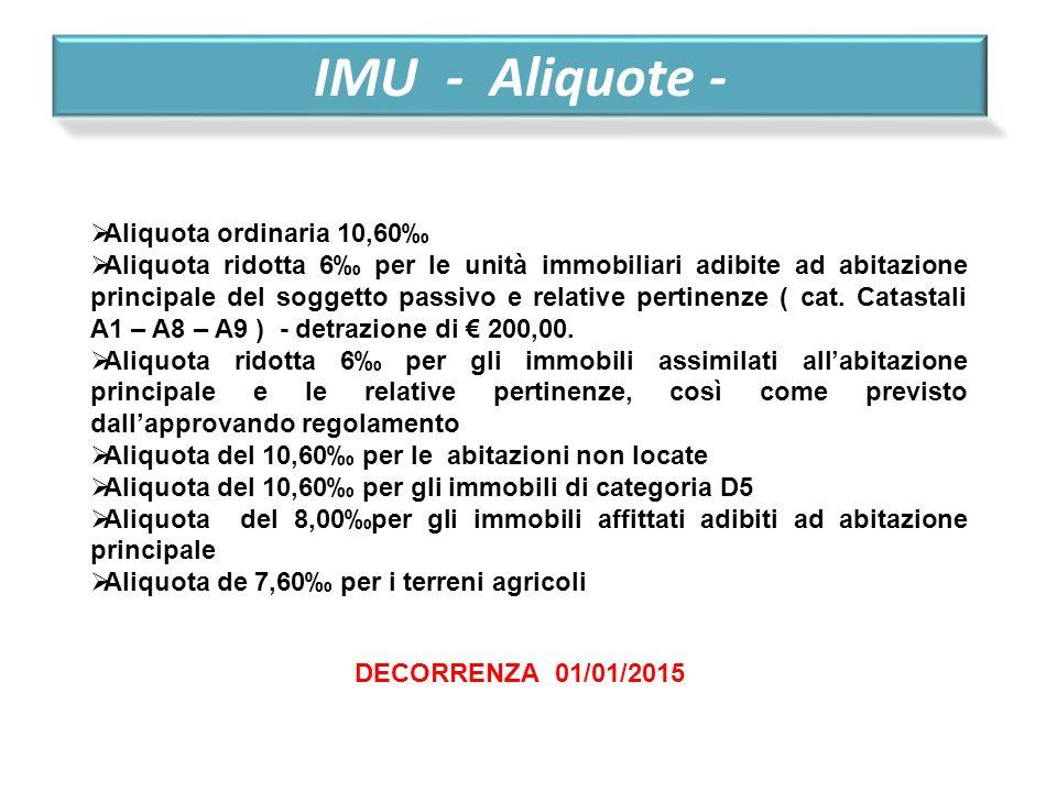 IMU - Aliquote -  Aliquota ordinaria 10,60‰  Aliquota ridotta 6‰ per le unità immobiliari adibite ad abitazione principale del soggetto passivo e re