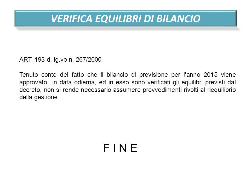 VERIFICA EQUILIBRI DI BILANCIO ART. 193 d. lg.vo n. 267/2000 Tenuto conto del fatto che il bilancio di previsione per l'anno 2015 viene approvato in d