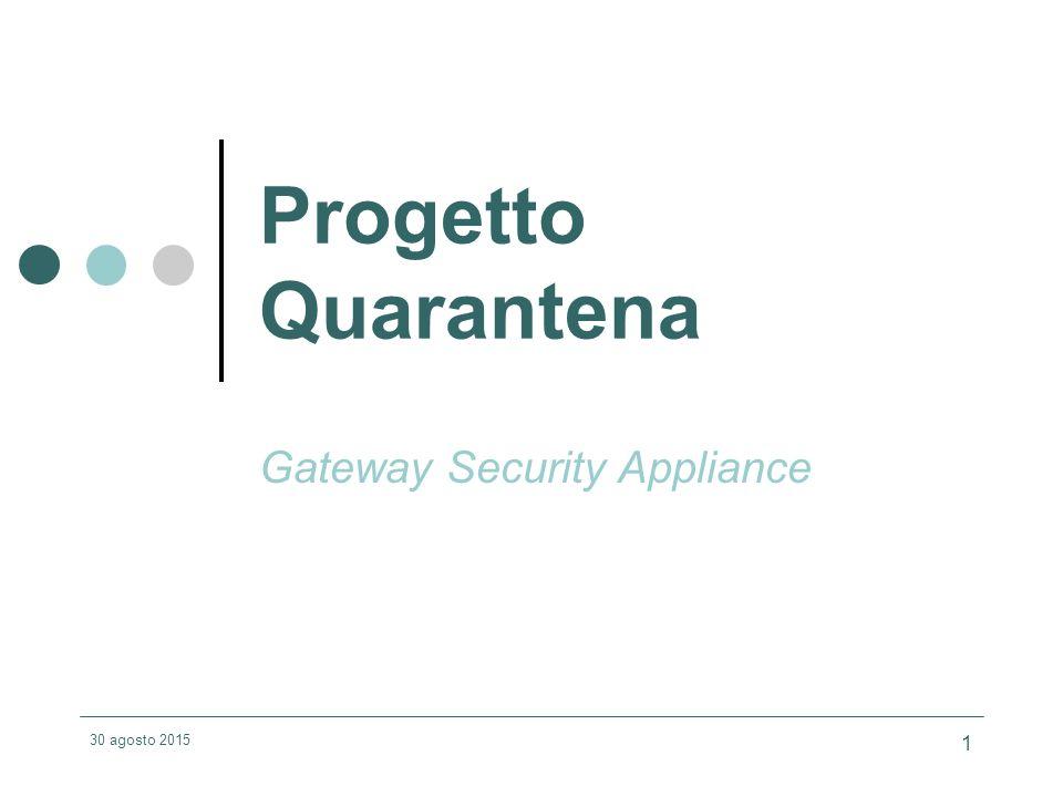 30 agosto 2015 1 Progetto Quarantena Gateway Security Appliance