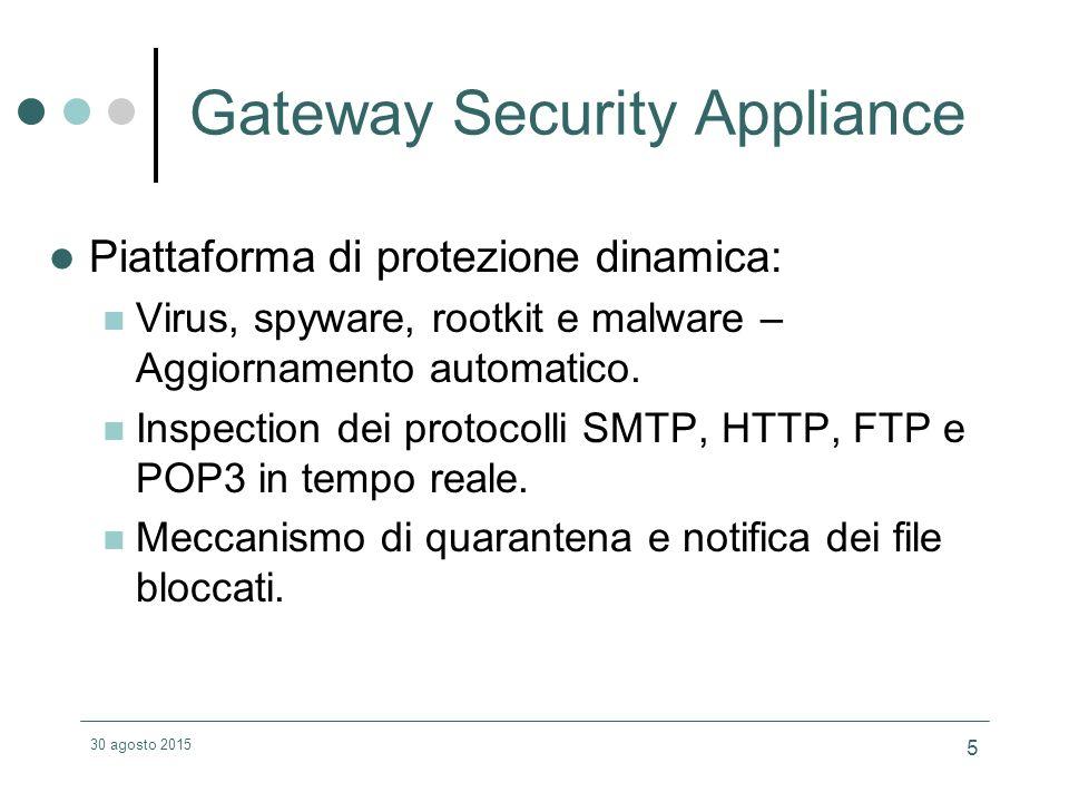30 agosto 2015 5 Gateway Security Appliance Piattaforma di protezione dinamica: Virus, spyware, rootkit e malware – Aggiornamento automatico.