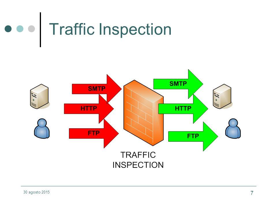 30 agosto 2015 8 Funzionalità Notifica traffico bloccato Quarantena virus Possibilità di centralizzare la soluzione HA realizzata a livello network Controllo e integrazione via SNMP