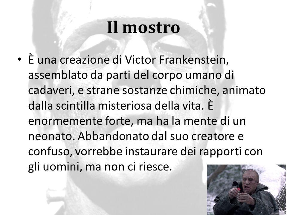 Il mostro È una creazione di Victor Frankenstein, assemblato da parti del corpo umano di cadaveri, e strane sostanze chimiche, animato dalla scintilla