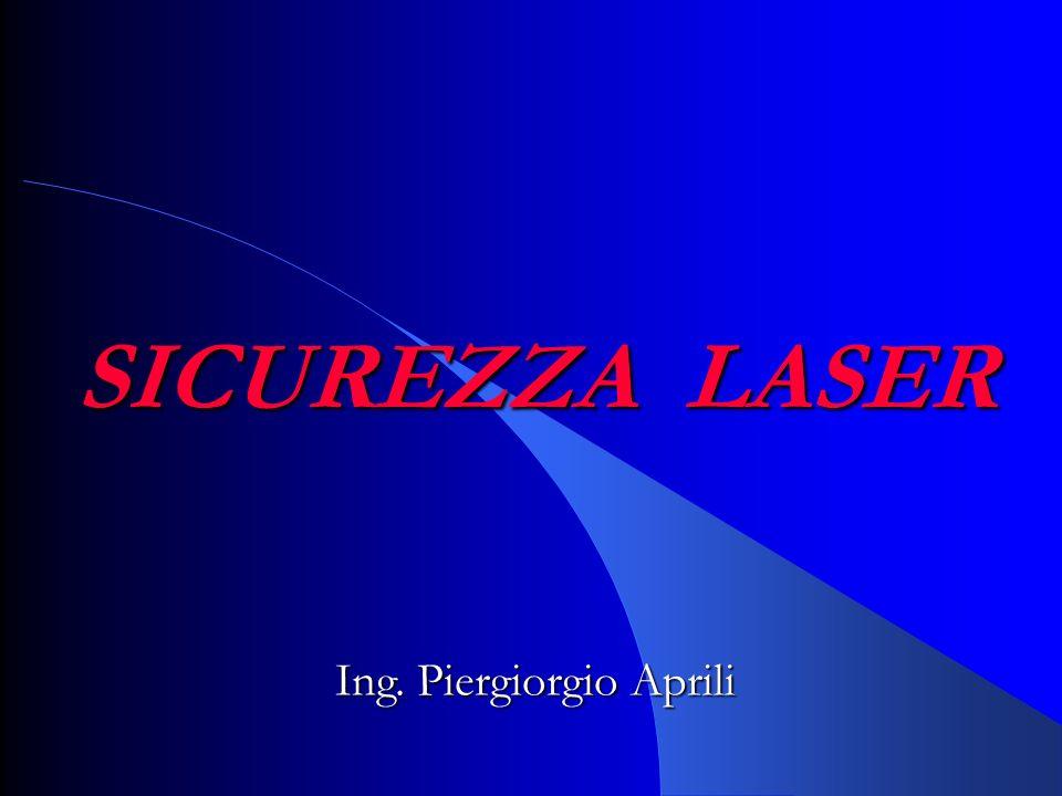 RISCHI COLLATERALI NEL FUNZIONAMENTO DEI LASER refrigeranti criogenici a) ustioni da freddo b) esplosione (gas a pressione) c) incendio d) asfissia (condensazione dell'ossigeno atmosferico) e) intossicazione (CO 2, f)esplosioni a) banco dei condensatori o sistema di pompaggio ottico (laser di alta potenza) b) reazioni esplosive di reagenti nei laser chimici o di altri gas usati nel laboratorioincendio a) fasci laser di energia elevata b) apparati elettricirumore a) condensatori di laser pulsati di potenza molto elevata b) interazioni con il bersaglio