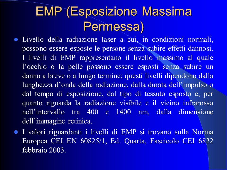 EMP (Esposizione Massima Permessa) Livello della radiazione laser a cui, in condizioni normali, possono essere esposte le persone senza subire effetti