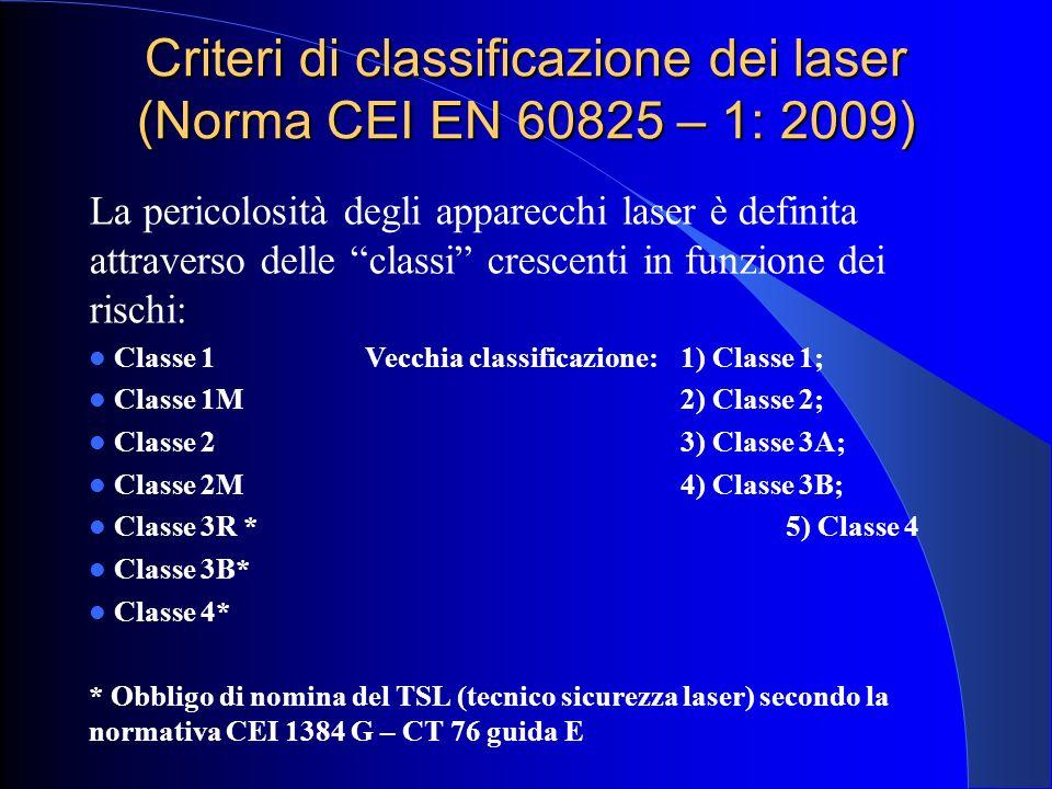 """Criteri di classificazione dei laser (Norma CEI EN 60825 – 1: 2009) La pericolosità degli apparecchi laser è definita attraverso delle """"classi"""" cresce"""