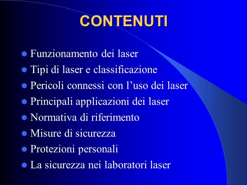 CONTENUTI Funzionamento dei laser Tipi di laser e classificazione Pericoli connessi con l'uso dei laser Principali applicazioni dei laser Normativa di