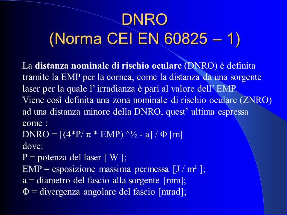 DNRO (Norma CEI EN 60825 – 1) La distanza nominale di rischio oculare (DNRO) è definita tramite la EMP per la cornea, come la distanza da una sorgente
