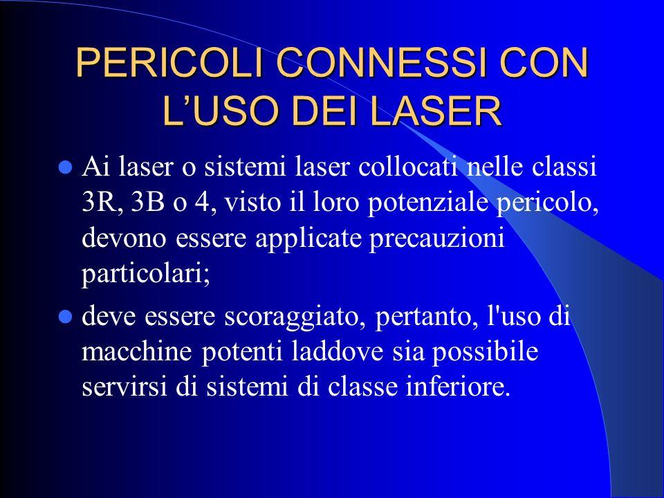 PERICOLI CONNESSI CON L'USO DEI LASER Ai laser o sistemi laser collocati nelle classi 3R, 3B o 4, visto il loro potenziale pericolo, devono essere app