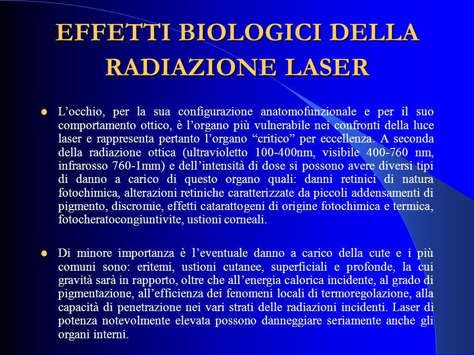EFFETTI BIOLOGICI DELLA RADIAZIONE LASER L'occhio, per la sua configurazione anatomofunzionale e per il suo comportamento ottico, è l'organo più vulne